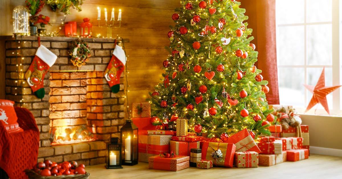 christmas tree near the fireplace