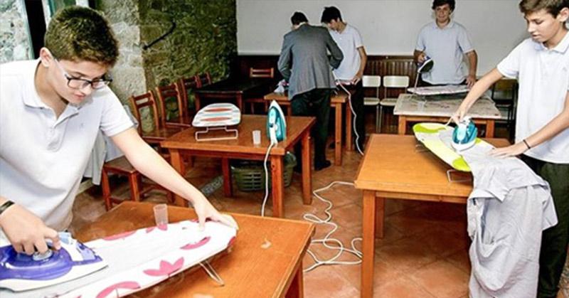 boys doing household chores