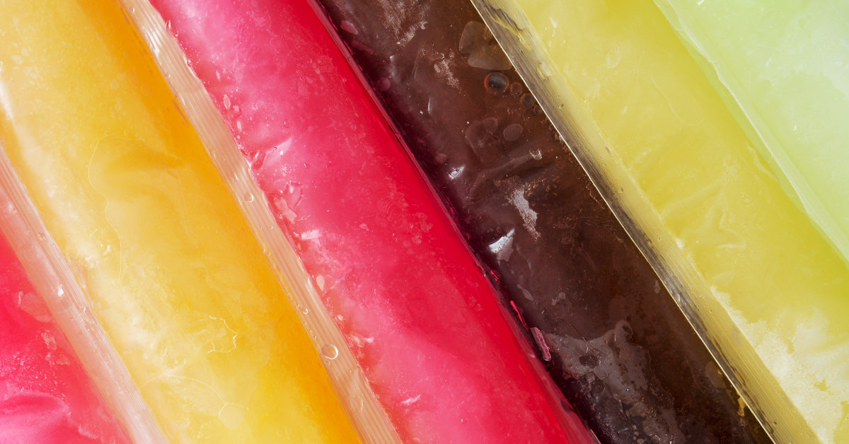 close of up various flavors of ice pops