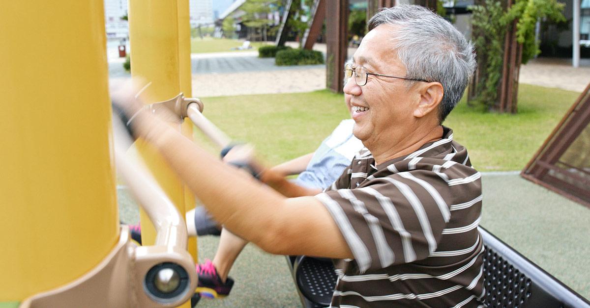 senior man using an Elder Playgrounds