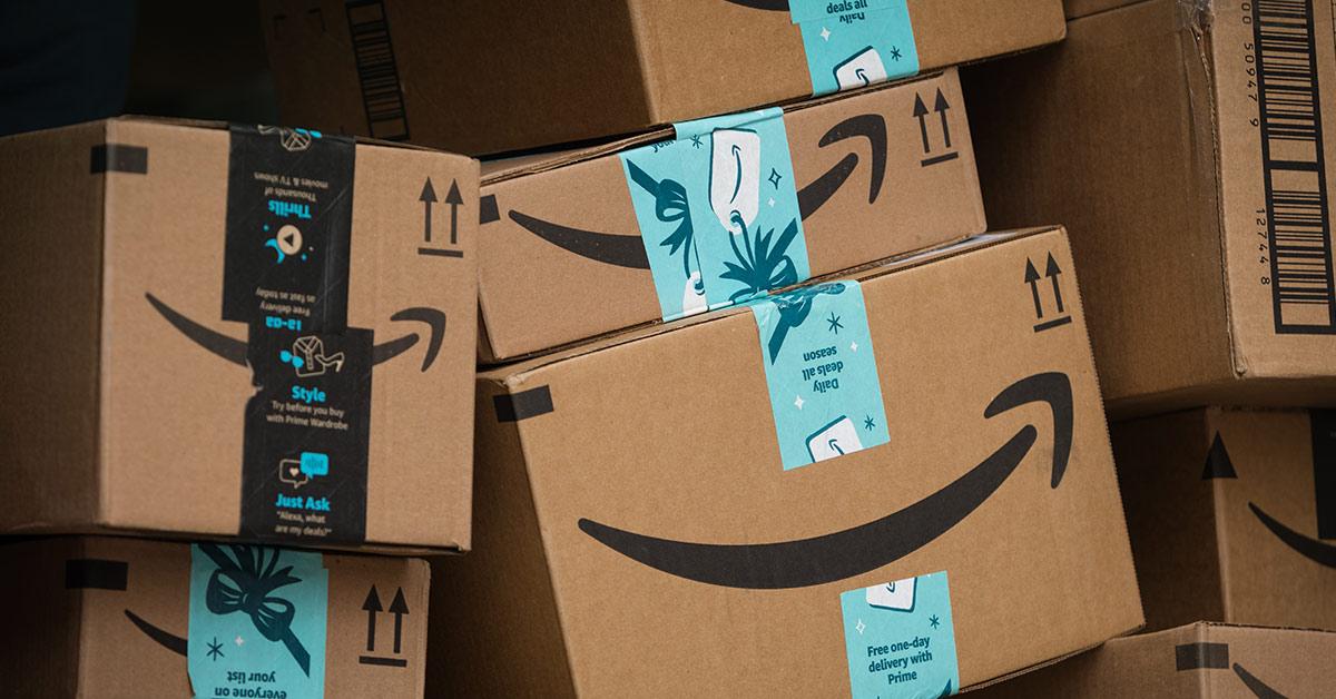 stacked amazon boxes