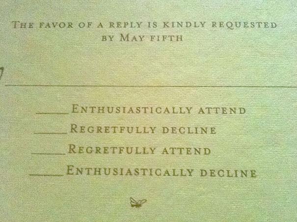 Funny Wedding RSVP Card
