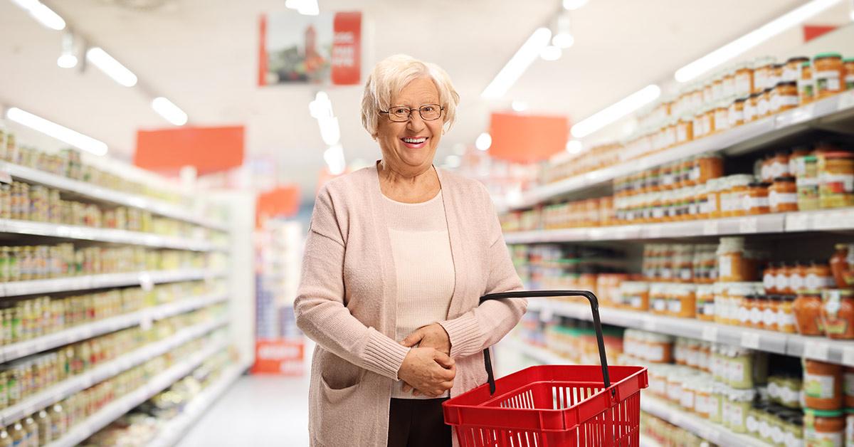 elderly woman in a supermarket