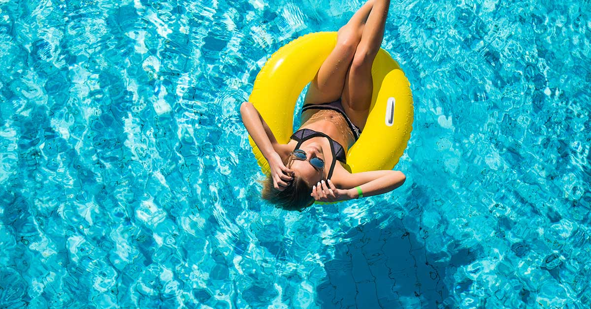 woman in an inflatable pool