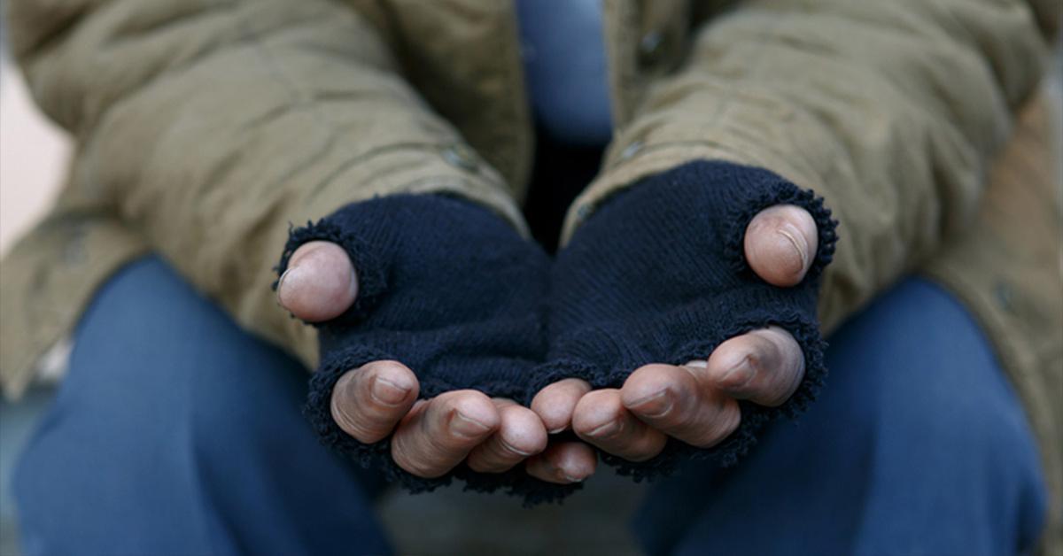 homeless man's hands