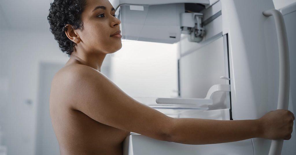 women getting mammogram