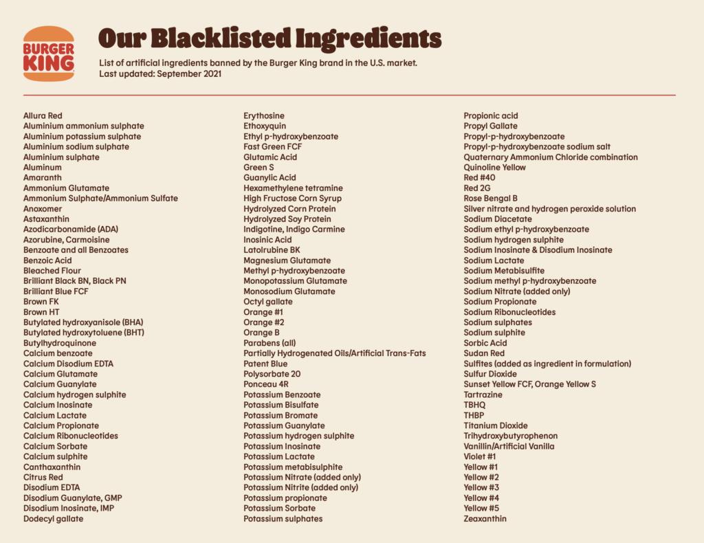 Burger King is banning 120 artificial ingredients