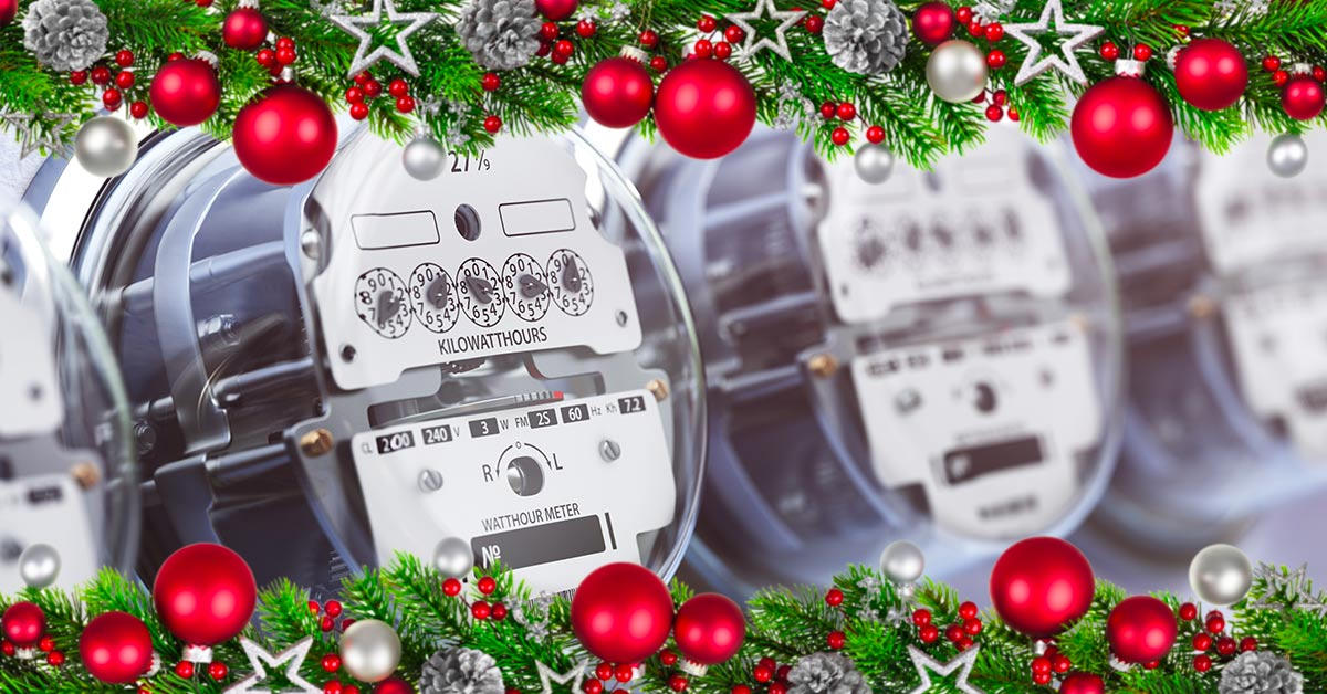 utility meters with holiday garland