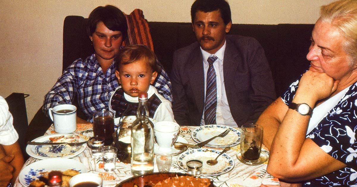 nostalgic photo of parents and children