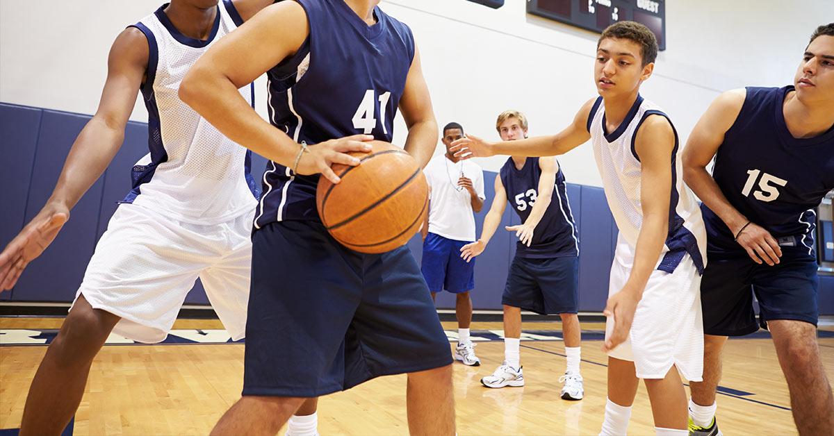 young teen basketball players